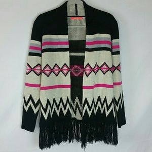 Stripe/chevron, pink/blk/tan fringe open cardigan